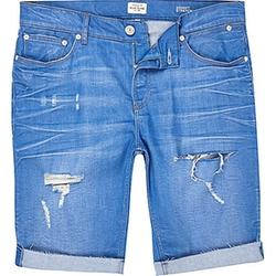 River Island - Blue Ripped Skinny Stretch Denim Shorts