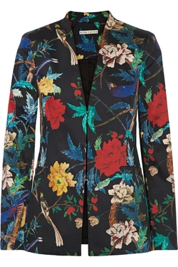 Alice + Olivia  - Floral-Print Stretch-Cotton Blazer