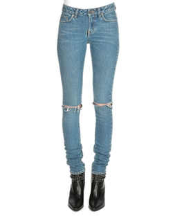 Saint Laurent  - Low-Rise Distressed Skinny Jeans