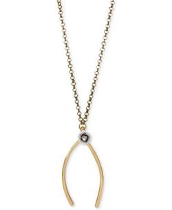 Betsey Johnson  - Two-Tone Flower-Adorned Wishbone Pendant Necklace