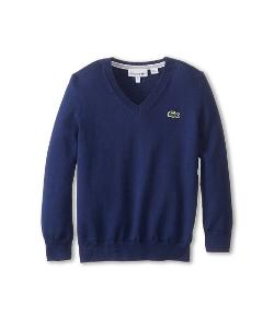 Lacoste Kids - Long Sleeve Cotton V-Neck Sweater
