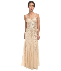 Adrianna Papell  - Beaded Mesh Mermaid Gown