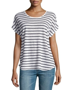 Vince  - Linen Striped Scoop-Neck Tee
