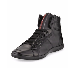 Prada  - Napa Leather High-Top Sneakers