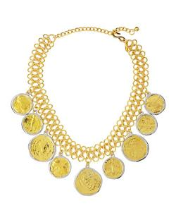 Kenneth Jay Lane  - Golden Coin-Drop Necklace