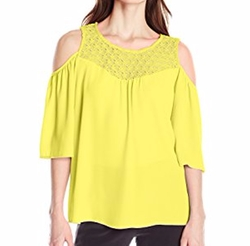 NY Collection - Angel Sleeve Cold Shoulder Top