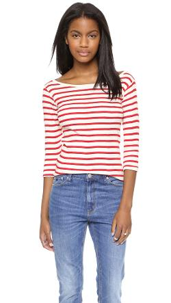 Edith A. Miller  - Boat Neck 3/4 Tee