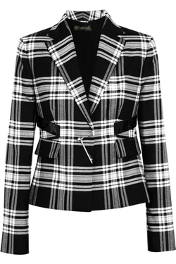 Versace  - Patent Leather-Trimmed Plaid Wool-Twill Blazer