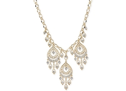 2028 - Gold-Tone Filigree Pear-Shaped Statement Necklace