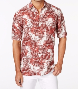 Tasso Elba  - Palm-Print Short-Sleeve Shirt