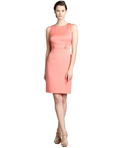 Tahari Asl - Coral Checkered Jacquard Dress