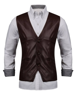 Podom - Slim Fit PU Leather Vest