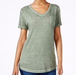 Style & Co. - V-Neck Burnout Pocket Tee