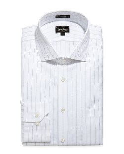 Neiman Marcus  - Textured Stripe Dress Shirt