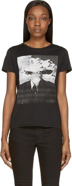 Saint Laurent - Black Crewneck Exploding Head T-Shirt
