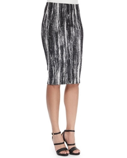 Donna Karan  - Brushstroke-Print Tube Pencil Skirt