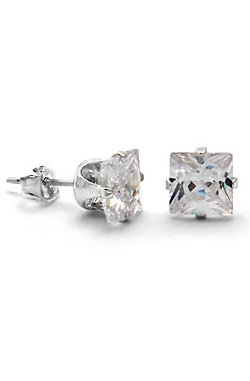 King Ice - April Birthstone Princess CZ .925 Sterling Silver Earrings