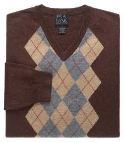 Jos.A.Bank - Lambswool Patterned Center Argyle V-Neck Sweater