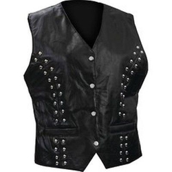 Diamond Plate - Rock Design Genuine Lambskin Leather Vest