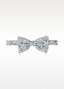 Forzieri  - Gray And Blue Floral Woven Silk Pre-tied Bow Tie