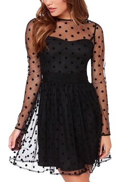 Maykool - Black Sheer Polka Dot Dress