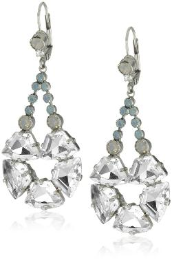 Sorrelli  - Aegean Sea Crystal and Round Crystal Silver Shade Dangling Earrings