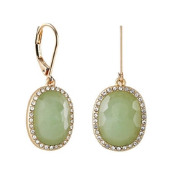Monet - Gold-Tone Crystal & Green Stone Drop Earrings