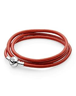 Pandora Bracelet - Red Leather Triple Wrap Energy With Sterling Silver Clasp