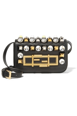 Fendi - Baguette Mini Embellished Leather Shoulder Bag