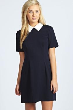 Boohoo - Robin Contrast Collar Dress