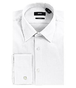 BOSS - Black Textured Point-Collar French Cuff Dress Shirt