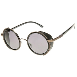 zeroUV  - Faux Leather Side Shield Round Sunglasses