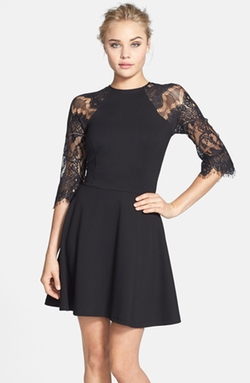 BB Dakota  - Yale Lace Panel Fit & Flare Dress