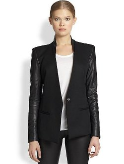Helmut Lang - Crux Leather-Sleeved Wool Blazer