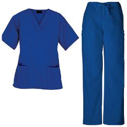 G Med  - Unisex Medical Scrub Set V-neck 2 Pocket Top and Pants 2 Piece Set