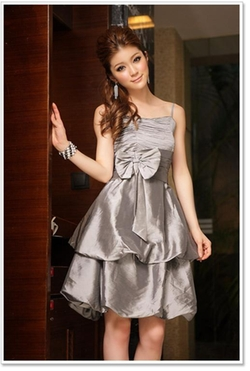 Yes Style - Bow-Accent Shirred Party Dress
