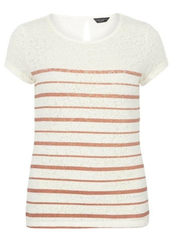 Dorothy Perkins - Rose Stripe Burnout Tee