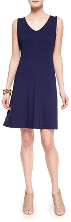 Eileen Fisher - V-Neck Shaped Jersey Dress