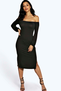 Boohoo - Off Shoulder Split Side Midi Dress