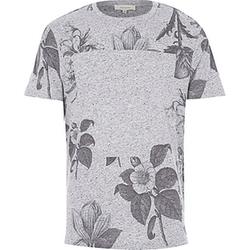 River Island - Grey Floral Print T-Shirt