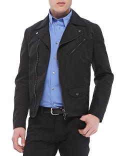Theory  - Vilson Moto-Jacket in Boss Nylon, Black
