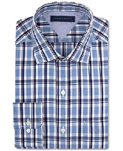 Tommy Hilfiger  - Slim-Fit Blue Multi-Plaid Dress Shirt