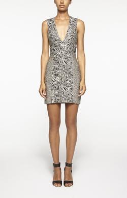 Nicole Miller - Zebra And Leopard V Neck Dress