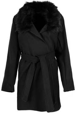 Oops Outlet - Fur Trim Collar Coat