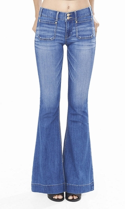 Express - Mid Rise Patch Pocket Flare Jeans