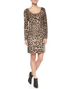 Sofia Cashmere  - Leopard-Print Cashmere Sheath Dress