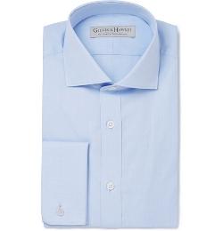 Gieves & Hawkes   - Cotton-Poplin Spread-Collar Shirt