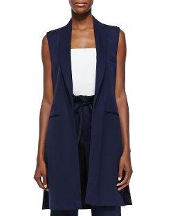 Adam Lippes  - Long Shawl-Collar Super 120s Wool Vest