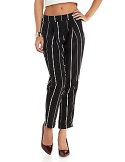 Charlotte Russe - Cuffed & Pleated Striped Trousers