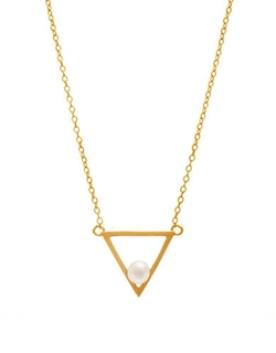 Lord & Taylor - Pearl Open Triangle Necklace